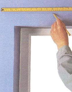 Dvoch strán okna clony, označte polohu konce koľajníc, potom